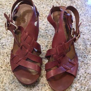 Franco Sarto dark brown leather sandal